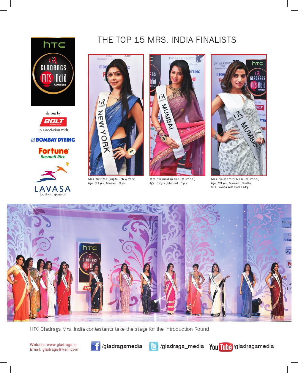 htc Gladrags Mrs.India 2015 Contest Top 15 Finalis
